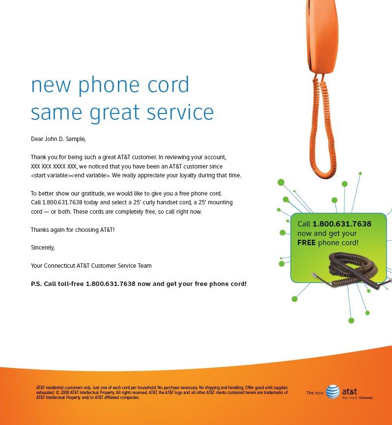 AT&T Free Cords Letter Kit Letter